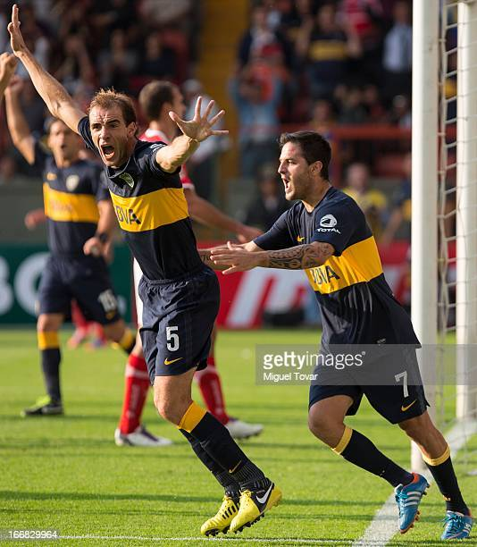 Leandro Somoza of Boca Jrs celebrates after scoring during the match between Toluca from Mexico and Boca Jrs from Argentina as part of the Copa...