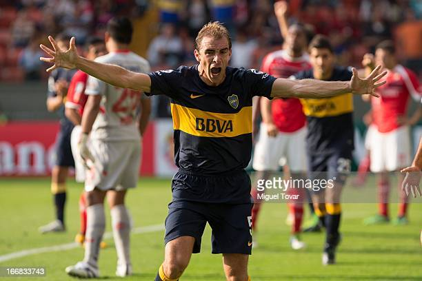 Leandro Somoza of Boca Jrs celebrates during the match between Toluca from Mexico and Boca Jrs from Argentina as part of the Copa Bridgestone...