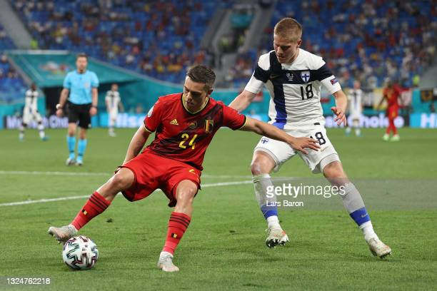 Leandro Trossard of Belgium battles for possession with Jere Uronen of Finland during the UEFA Euro 2020 Championship Group B match between Finland...