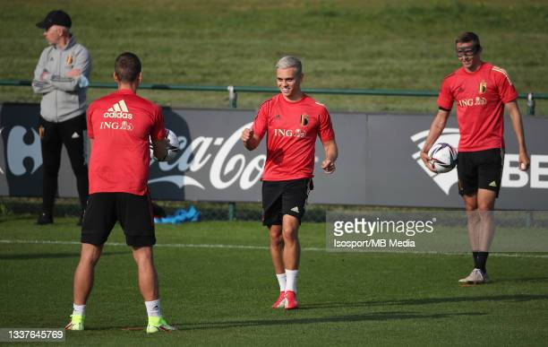 """Leandro Trossard of Belgium during a training session of the Belgian national soccer team """" The Red Devils """" ahead of the upcoming FIFA World Cup..."""