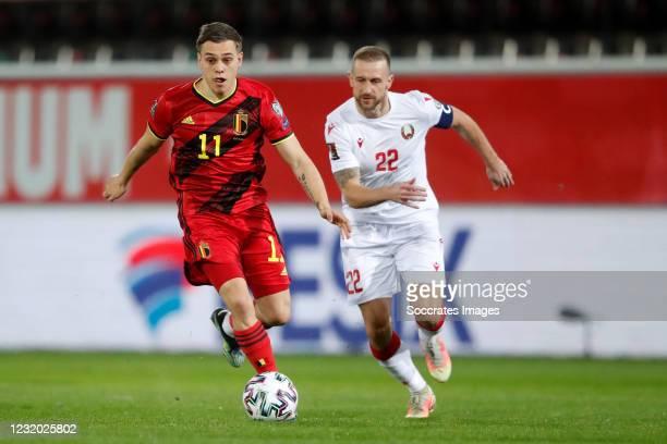 Leandro Trossard of Belgium, Igor Stasevich of Belarus during the World Cup Qualifier match between Belgium v Belarus on March 30, 2021
