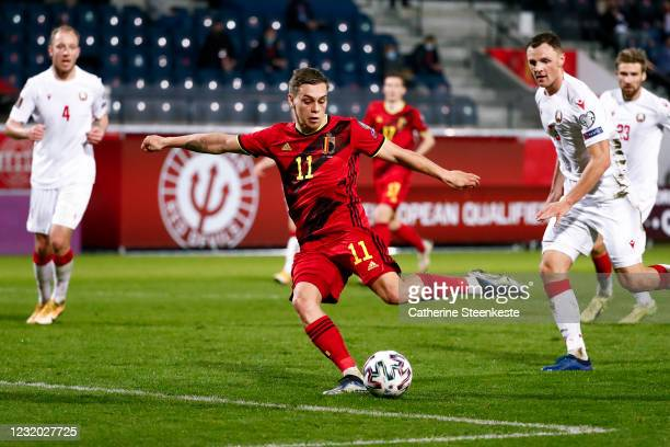 Leandro Trossard of Belgium shoots the ball and scores his second goal during the FIFA World Cup 2022 Qatar qualifying match between Belgium and...