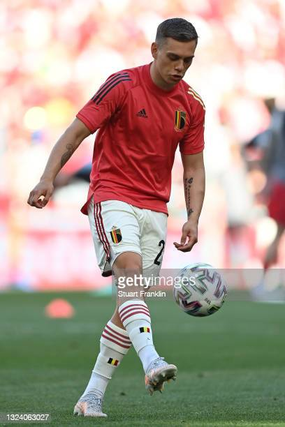 Leandro Trossard of Belgium warms up prior to the UEFA Euro 2020 Championship Group B match between Denmark and Belgium at Parken Stadium on June 17,...