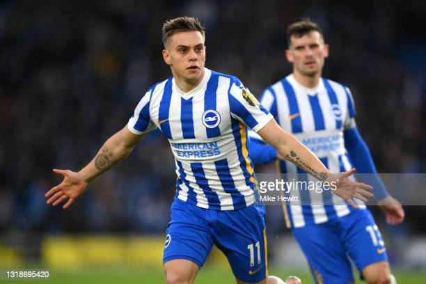 Leandro Trossard of Brighton and Hove Albion celebrates after scoring their side's first goal during the Premier League match between Brighton & Hove...