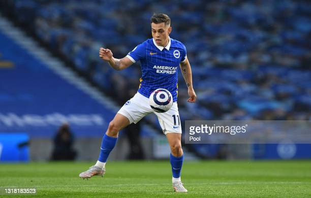 Leandro Trossard of Brighton and Hove Albion on the ball during the Premier League match between Brighton & Hove Albion and West Ham United at...
