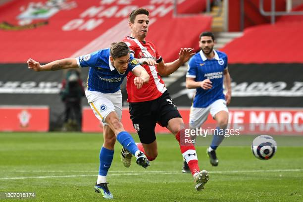 Leandro Trossard of Brighton and Hove Albion scores their side's second goal during the Premier League match between Southampton and Brighton & Hove...