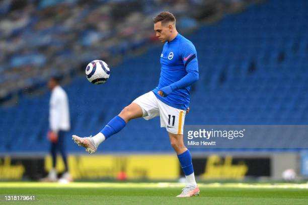 Leandro Trossard of Brighton and Hove Albion warms up prior to the Premier League match between Brighton & Hove Albion and West Ham United at...