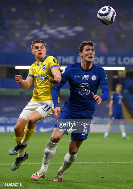 Leandro Trossard of Brighton & Hove Albion and Andreas Christensen of Chelsea battle for the ball during the Premier League match between Chelsea and...