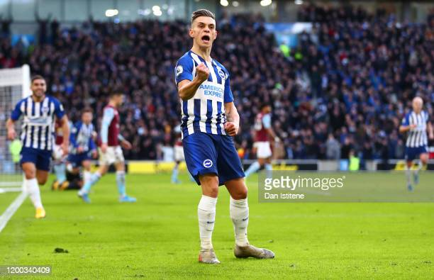 Leandro Trossard of Brighton & Hove Albion celebrates after scoring his team's first goal during the Premier League match between Brighton & Hove...