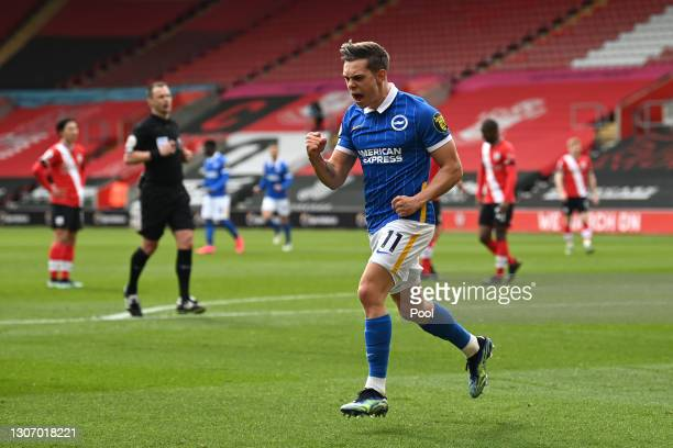 Leandro Trossard of Brighton & Hove Albion celebrates after scoring their side's second goal during the Premier League match between Southampton and...