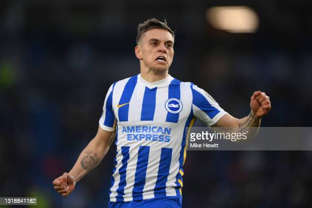Leandro Trossard of Brighton & Hove Albion celebrates after scoring during the Premier League match between Brighton & Hove Albion and Manchester...