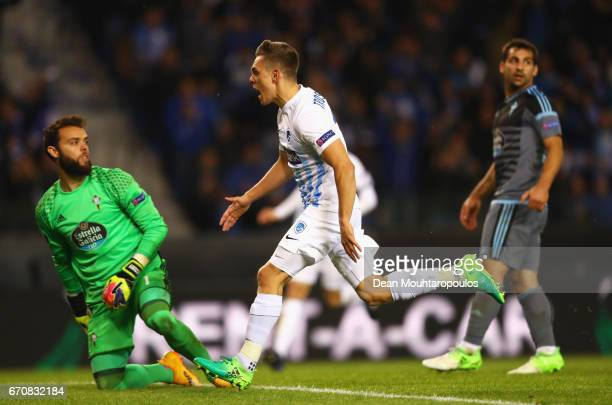 Leandro Trossard of Genk celebrates as he scores their first goal during the UEFA Europa League quarter final second leg between KRC Genk and Celta...