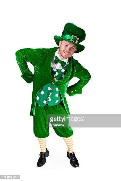 leaning smiling leprechaun - leprechaun stock pictures, royalty-free photos & images