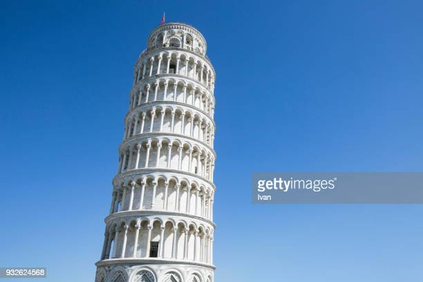 Leaning Tower of Pisa Against Blue Sky, Tuscany, Italy