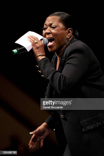 Leann Fain performs during the memorial service for Albertina Walker at the Apostolic Church of God on October 14, 2010 in Chicago, Illinois.