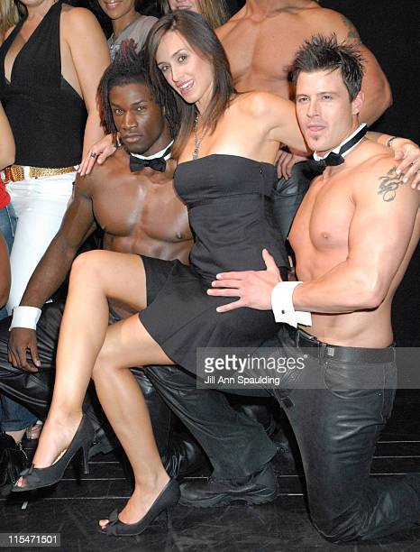 LeAnn Lazar with The Men of Chippendales during New York's Top Ford Models Visit The Chippendales at The Rio Hotel and Casino in Las Vegas Nevada...
