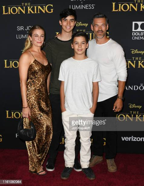 """LeAnn Rimes, Eddie Cibrian and sons attend the Premiere Of Disney's """"The Lion King"""" at Dolby Theatre on July 09, 2019 in Hollywood, California."""