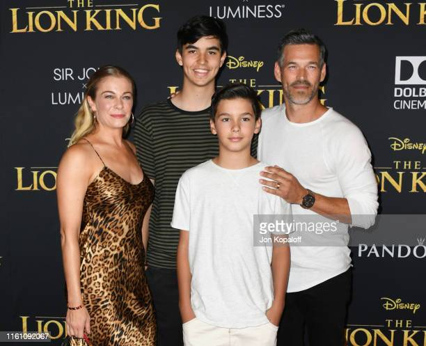 LeAnn Rimes Eddie Cibrian and sons attend the Premiere Of Disney's The Lion King at Dolby Theatre on July 09 2019 in Hollywood California