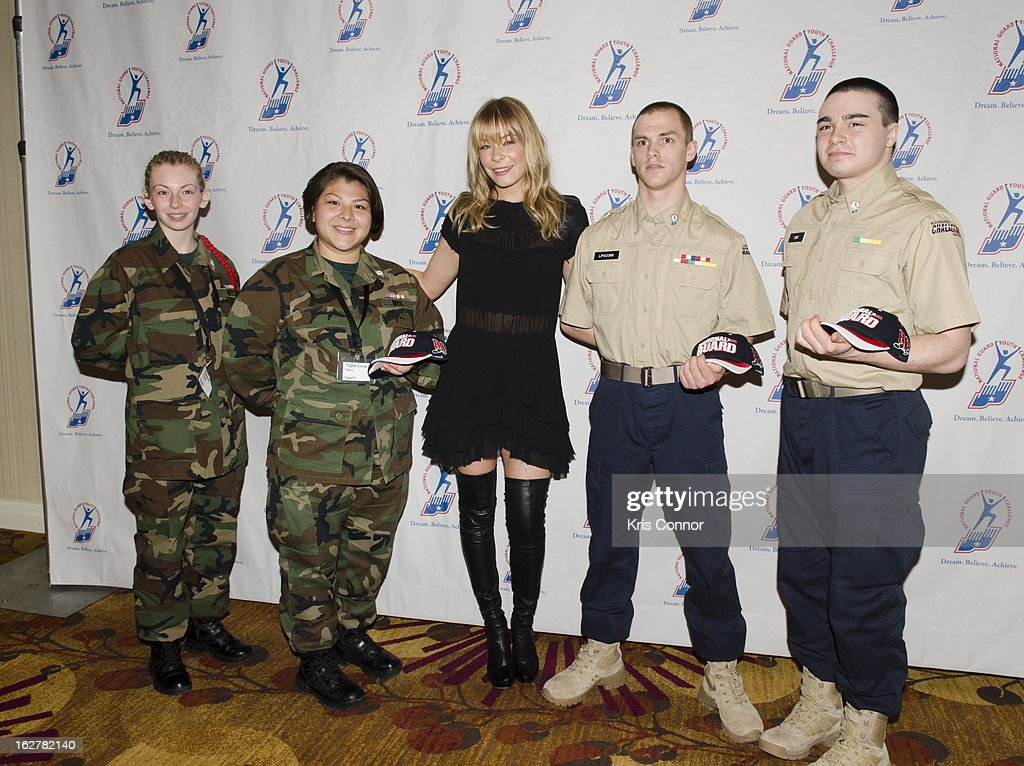 LeAnn Rimes (C) poses with cadets during the 2013 ChalleNGe Champions Gala at JW Marriott Hotel on February 26, 2013 in Washington, DC.