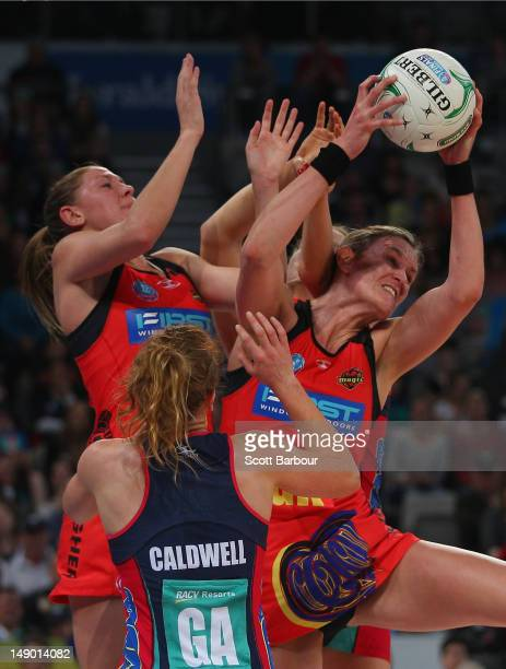 Leanna de Bruin of the Magic competes for the ball during the ANZ Championship Grand Final match between the Melbourne Vixens and the Waikato Bay of...