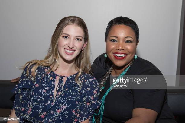Leanne Aguilera and Kellie Shanygne Williams attend TGIHulu presented by Hulu during the ATX Television Festival at Trinity Hall on June 8 2018 in...