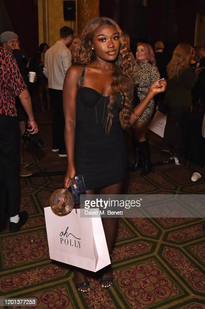 Leanne Amaning attends the Ethical Designer Showcase featuring Oh Polly during London Fashion Week February 2020 at The Royal Horseguards on February...