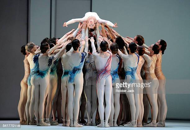 Leanne Benjamin with artists of the company in the Royal Ballet's production of Kenneth MacMillan's Requiem at the Royal Opera House Covent Garden in...