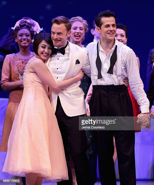 Leanne Cope Christopher Wheeldon and Robert Fairchild onstage at An American In Paris Broadway opening night at Palace Theatre on April 12 2015 in...