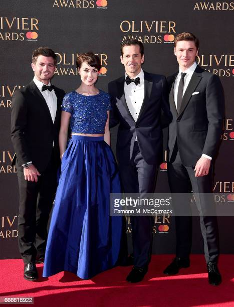 Leanne Cope Robert Fairchild and Ashley Day attend The Olivier Awards 2017 at Royal Albert Hall on April 9 2017 in London England