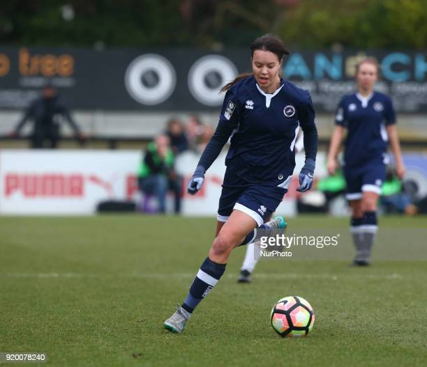 Leanne Cowan of Millwall Lionesses L during The FA Women's Cup Fifth Round match between Arsenal against Millwall Lionesses at Meadow Park...