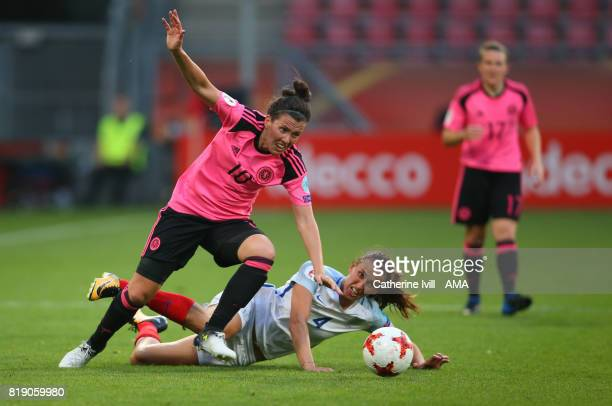 Leanne Crichton of Scotland Women and Jill Scott of England Women during the UEFA Women's Euro 2017 match between England and Scotland at Stadion...