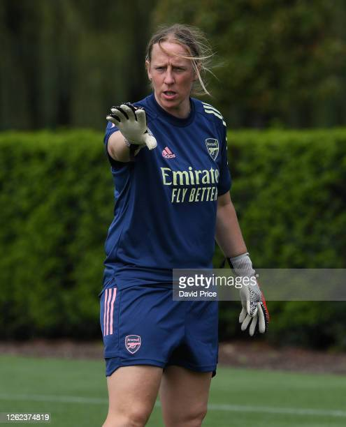 Leanne Hall Arsenal Women's Goalkeeping Coach during the Arsenal Women training session at Arsenal Academy on July 29 2020 in Walthamstow England