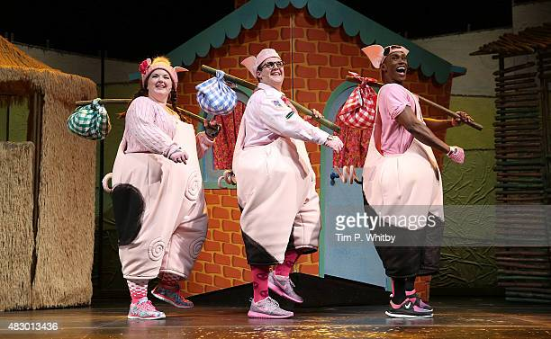 Leanne Jones Taofique Folarin and Daniel Buckley perform on stage during a photocall for The Three Little Pigs at Palace Theatre on August 5 2015 in...