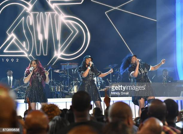 Leanne 'Lelee' Lyons Cheryl 'Coko' Clemons and Tamara 'Taj' JohnsonGeorge of SWV perform during the 2017 Soul Train Music Awards at the Orleans Arena...