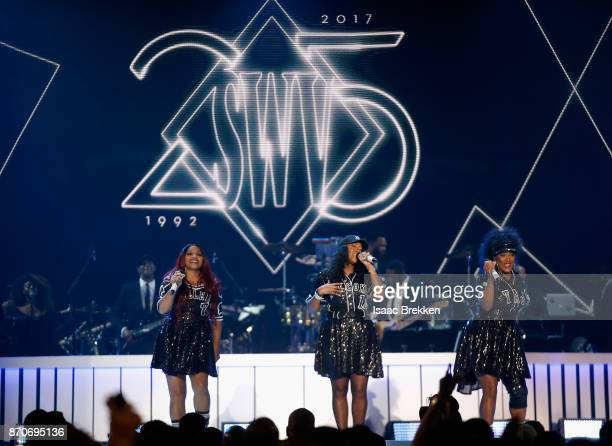 Leanne 'Lelee' Lyons Cheryl 'Coko' Gamble and Tamara 'Taj' Johnson of SWV perform onstage at the 2017 Soul Train Awards presented by BET at the...