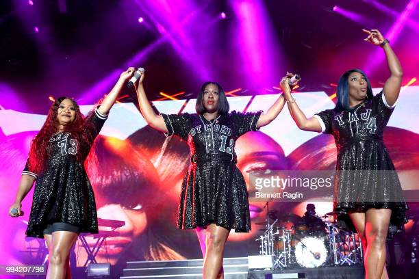 Leanne Lelee Lyons Coko and Tamara JohnsonGeorge of SWV perform onstage during the 2018 Essence Festival presented by CocaCola Day 3 at Louisiana...