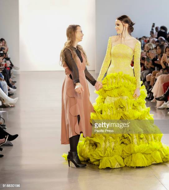 Leanne Marshal with model walk runway for Leanne Marshall Fall/Winter 2018 runway show during New York Fashion Week at Spring Studios Manhattan