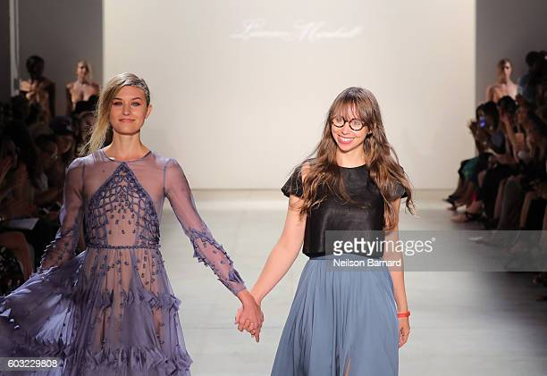 Leanne Marshall and a model walk the runway for the Leanne Marshall fashion show during New York Fashion Week September 2016 at The Gallery Skylight...