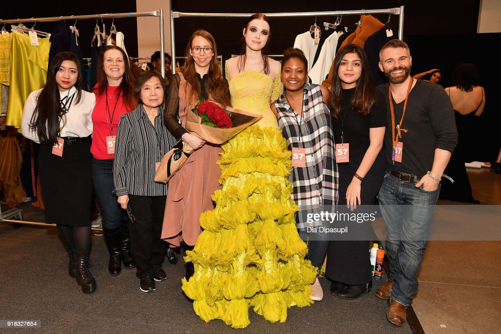 Leanne Marshall and team pose backstage for Leanne Marshall during New York Fashion Week: The Shows at Gallery II at Spring Studios on February 14, 2018 in New York City.