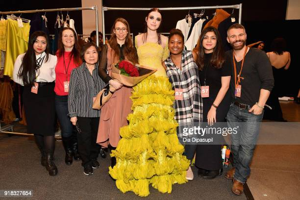 Leanne Marshall and team pose backstage for Leanne Marshall during New York Fashion Week The Shows at Gallery II at Spring Studios on February 14...