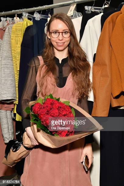 Leanne Marshall pose backstage for Leanne Marshall during New York Fashion Week The Shows at Gallery II at Spring Studios on February 14 2018 in New...
