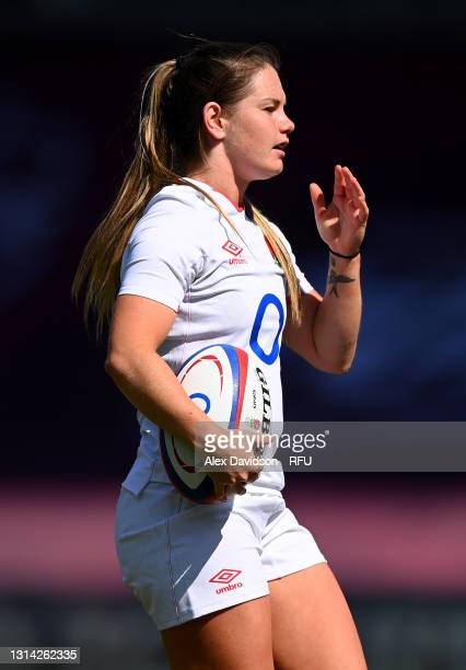 Leanne Riley of England looks on during the Women's Six Nations match between England and France at The Stoop on April 24, 2021 in London, England....