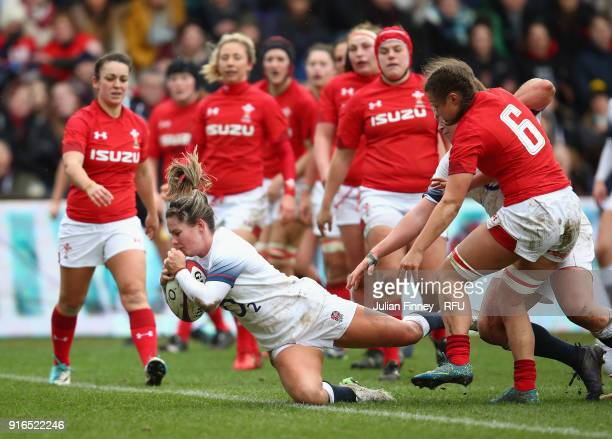 Leanne Riley of England scores the third try during the Natwest Women's Six Nations Championships at Twickenham Stoop on February 10 2018 in London...