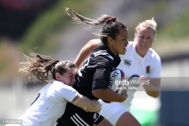 Leanne Riley of England tackles Theresa Fitzpatrick of New Zealand during the first half of a match between New Zealand and England in the Women's...