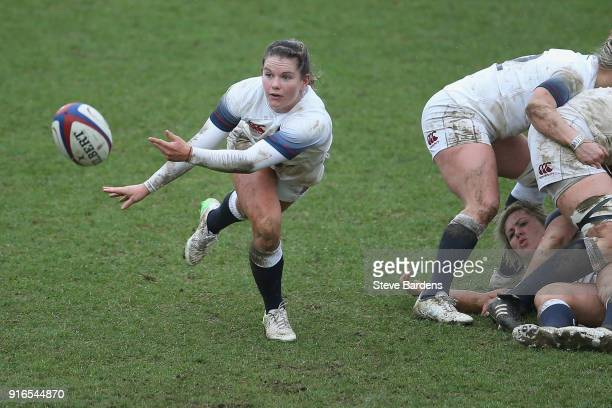 Leanne Riley of England Women passes the ball during the Natwest Women's Six Nations Championships match between England and Wales at The Stoop on...