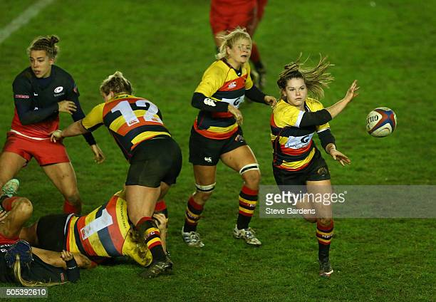 Leanne Riley of Richmond Ladies passes the ball during the Ladies Premiership Final match between Richmond Ladies and Saracens Women at Twickenham...