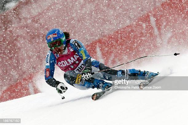 Leanne Smith of the USA competes during the Audi FIS Alpine Ski World Cup Women's SuperG on January 20 2013 in Cortina d'Ampezzo Italy