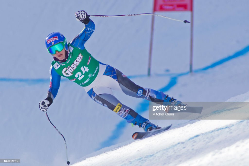 Leanne Smith of the USA races down the Kandahar course whilst competing in the Audi FIS Alpine Ski World Cup downhill race on January 12, 2013 in St Anton, Austria.