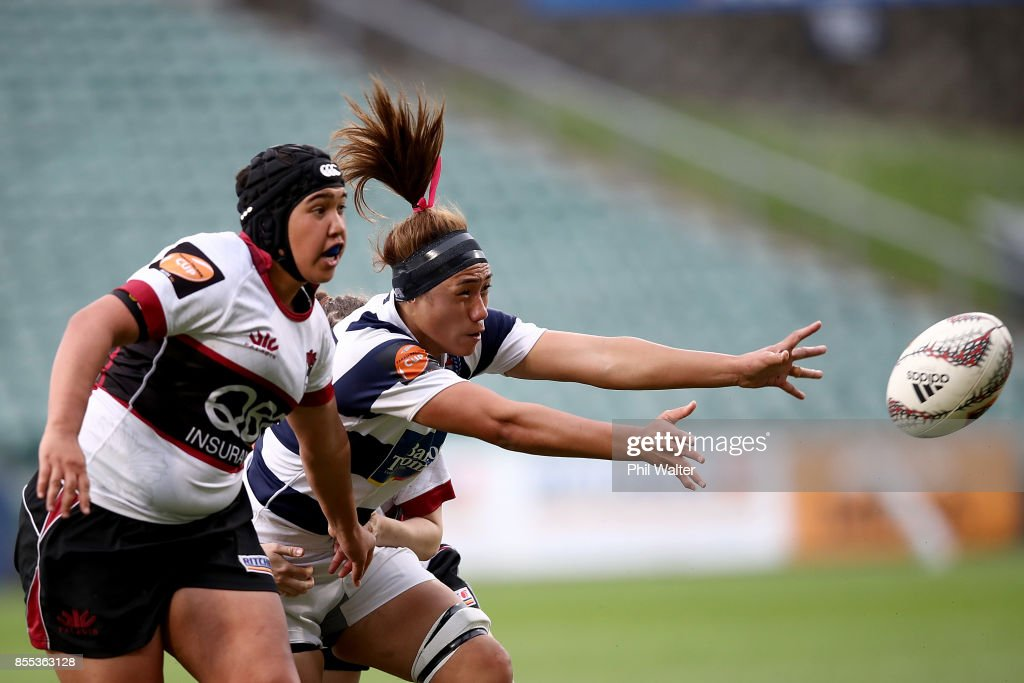 Leanne Thompson of Auckland is tackled during the round five Farah Palmer Cup match between North Harbour and Auckland at QBE Stadium on September 29, 2017 in Auckland, New Zealand.
