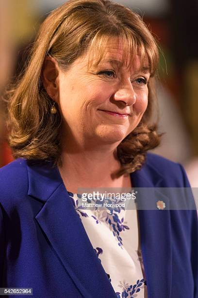 Leanne Wood leader of Plaid Cymru is interviewed at Llanishen Leisure Centre on June 24 2016 in Cardiff Wales The United Kingdom has gone to the...